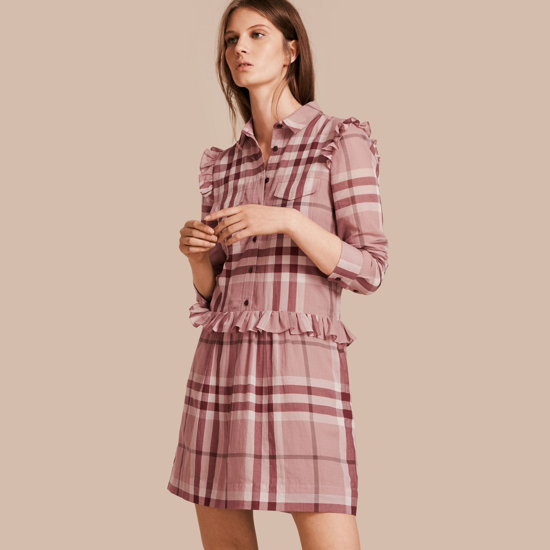 Ruffle Detail Cotton Check Shirt Dress in Antique Pink - gallery image 1