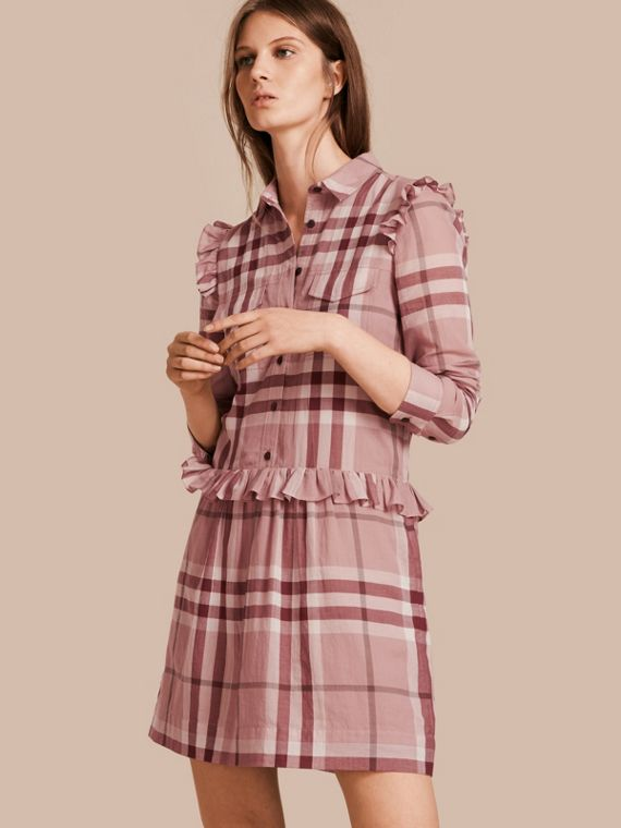 Ruffle Detail Cotton Check Shirt Dress in Antique Pink