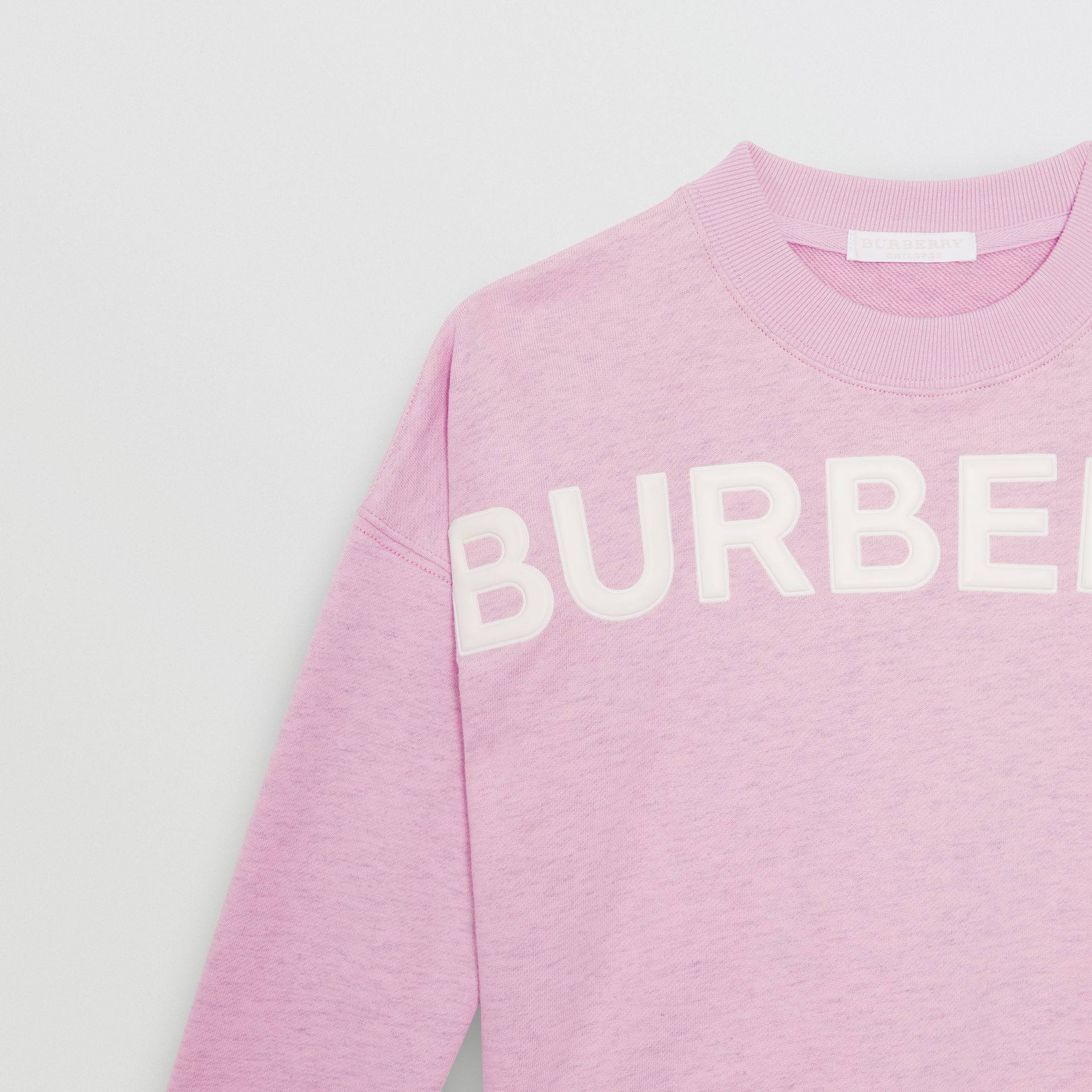 Logo Detail Cotton Sweatshirt in Pale Neon Pink - Children | Burberry - gallery image 4