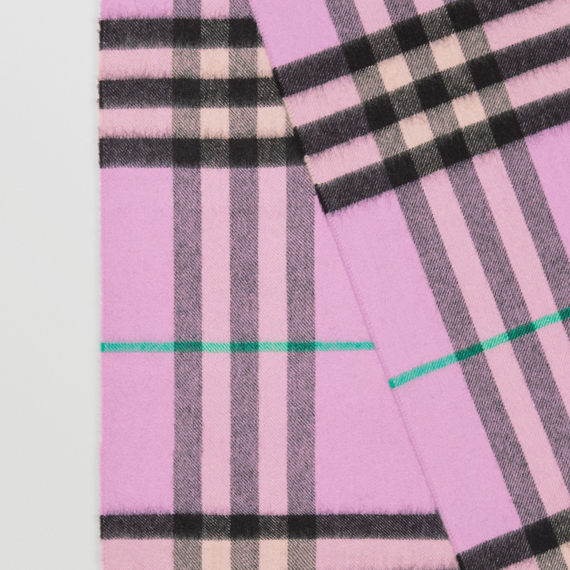 The Classic Check Cashmere Scarf in Pale Heather | Burberry - gallery image 1