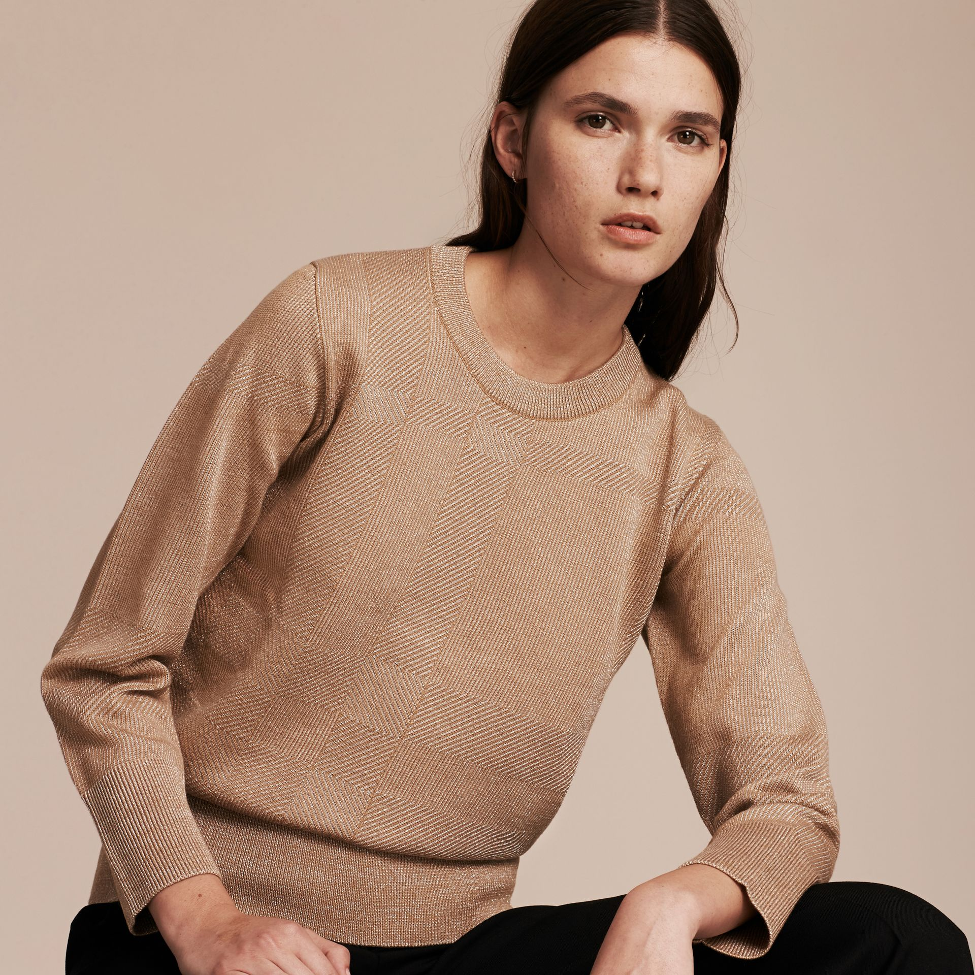 Camel Check Merino Wool and Metallic Sweater - gallery image 6