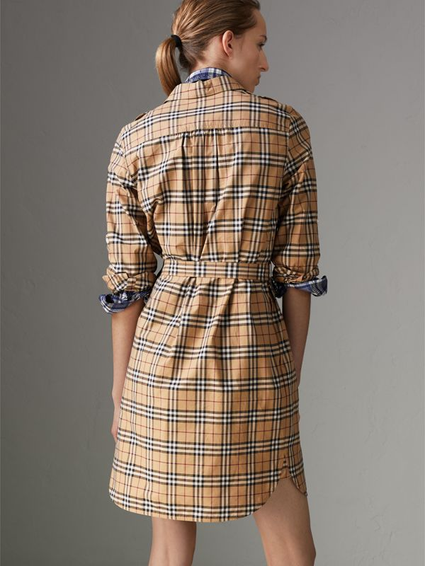 Check Cotton Tunic Dress in Camel - Women | Burberry Australia - cell image 2