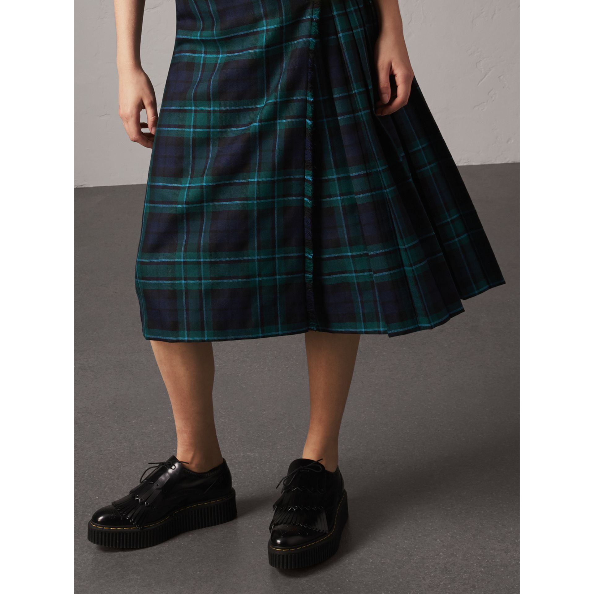 Tartan Wool Kilt in Pine Green - Women | Burberry - gallery image 1