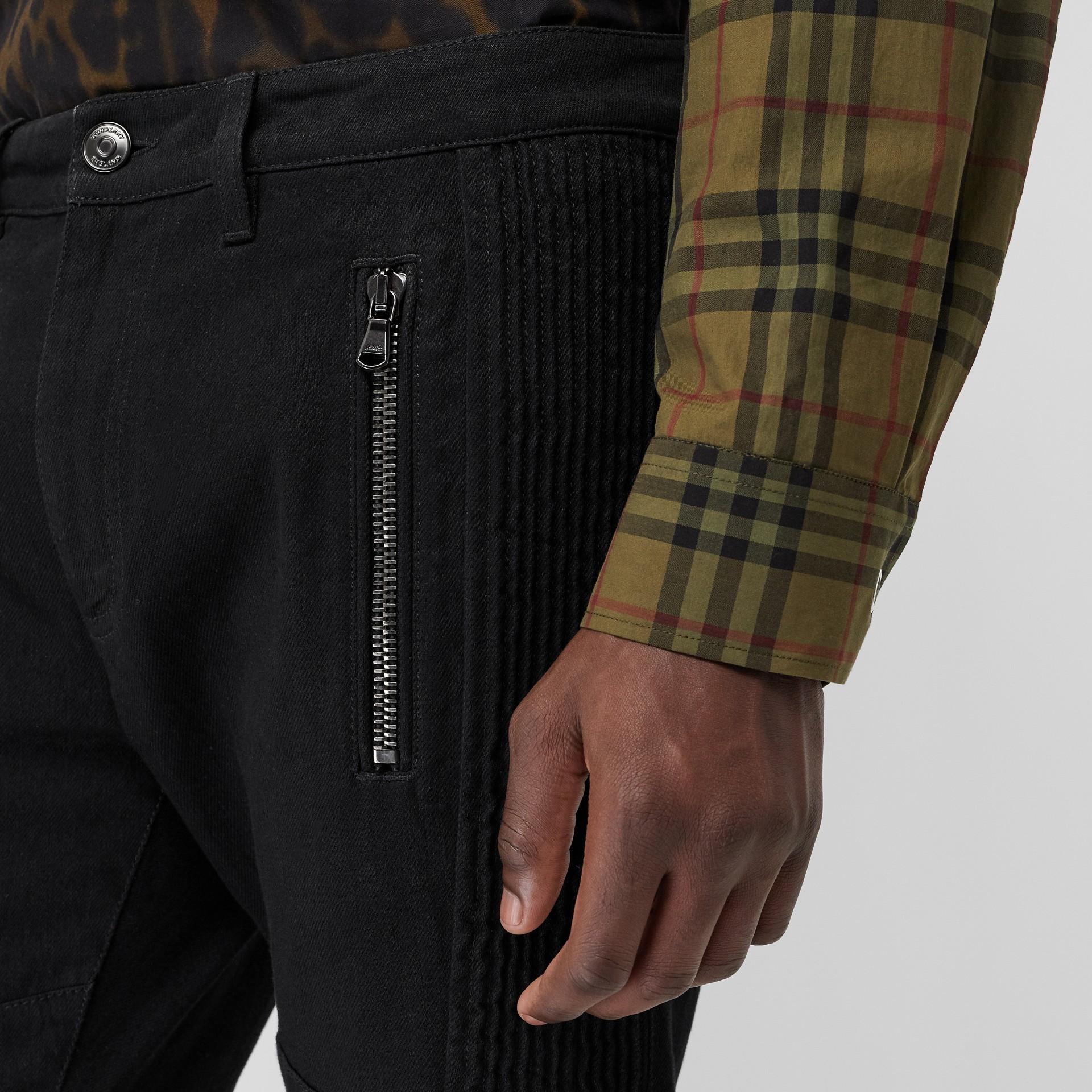 Slim Fit Zip Detail Biker Jeans in Black - Men   Burberry United States - gallery image 1