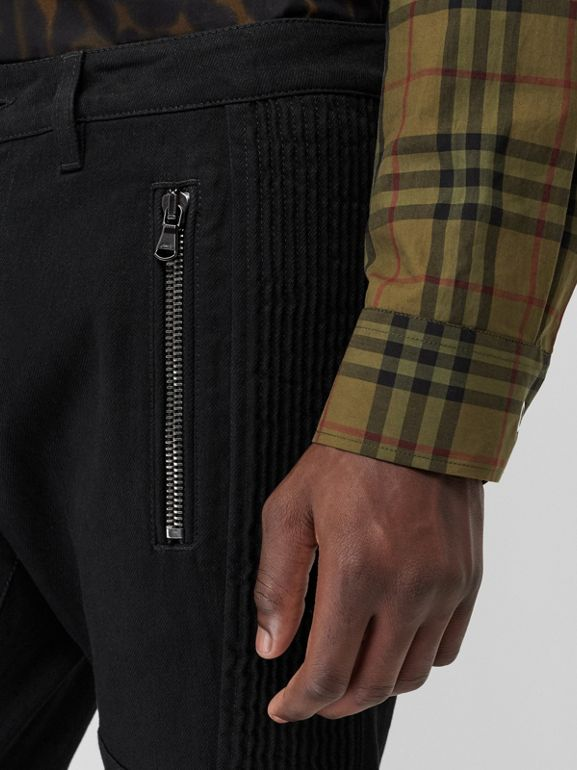 Slim Fit Zip Detail Biker Jeans in Black - Men | Burberry United States - cell image 1