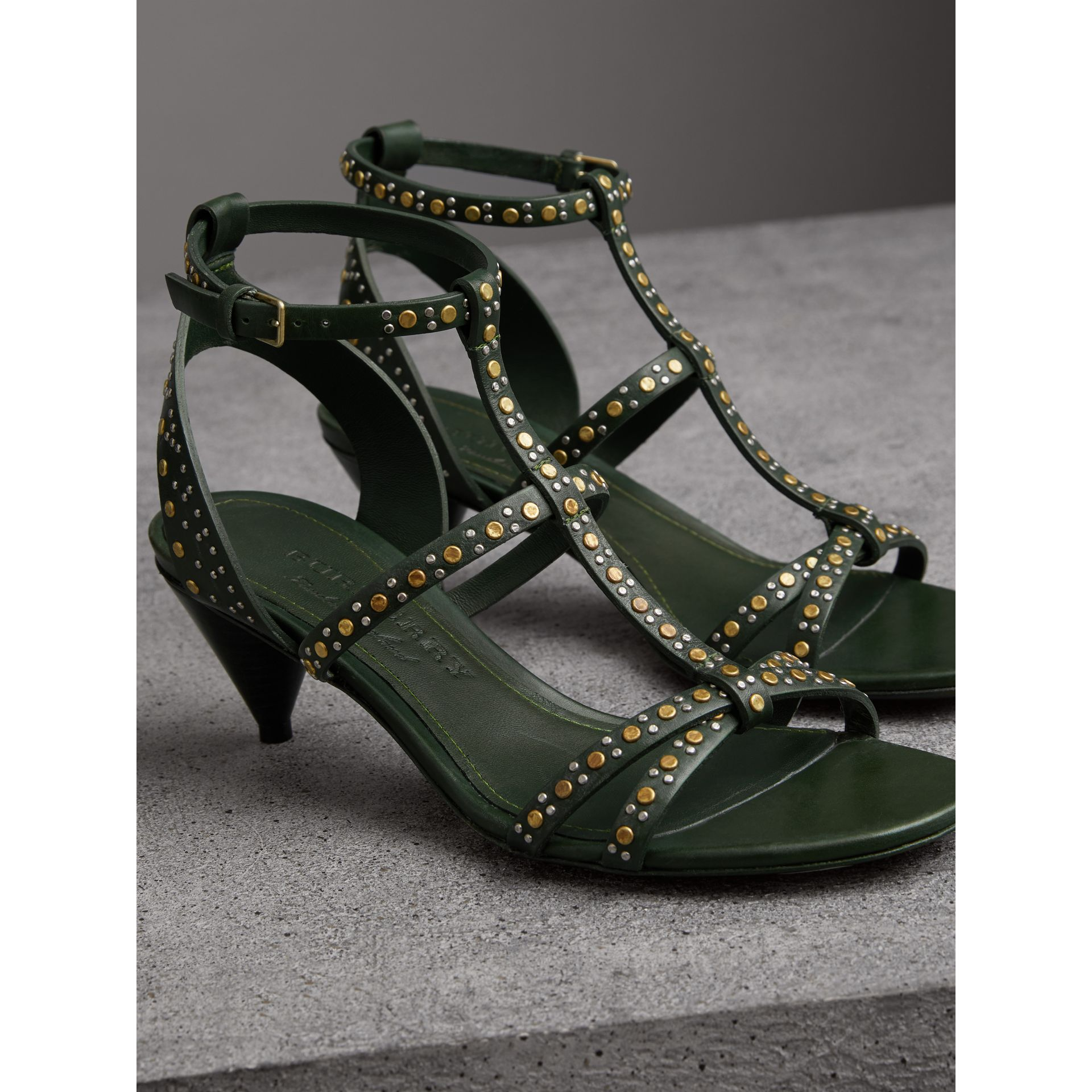 Riveted Leather Cone-heel Sandals in Dark Green - Women | Burberry - gallery image 4