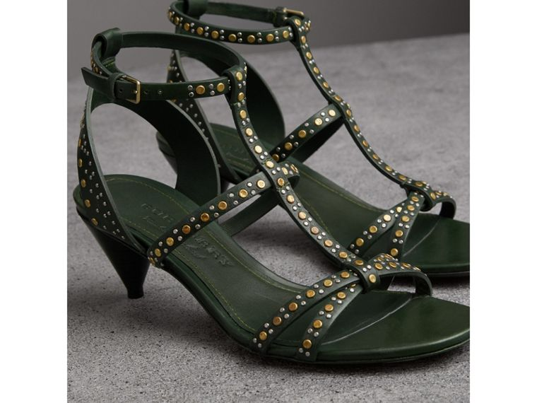 Riveted Leather Cone-heel Sandals in Dark Green - Women | Burberry United Kingdom - cell image 4