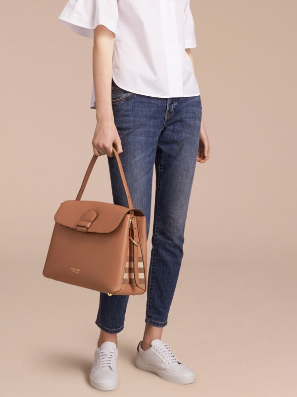 Medium Grainy Leather and House Check Tote Bag in Dark Sand - Women | Burberry Australia - cell image 2