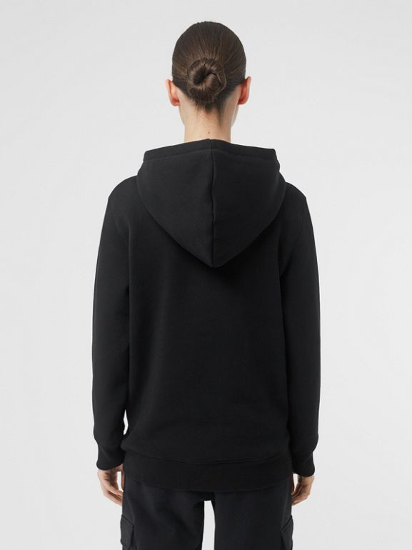 Embroidered Logo Jersey Hoodie in Black - Women | Burberry - cell image 1