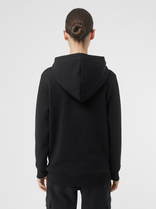 Embroidered Logo Jersey Hoodie in Black - Women | Burberry United Kingdom - cell image 2