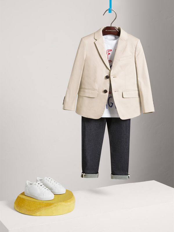 Tailored Stretch Cotton Blazer in Stone | Burberry - cell image 2