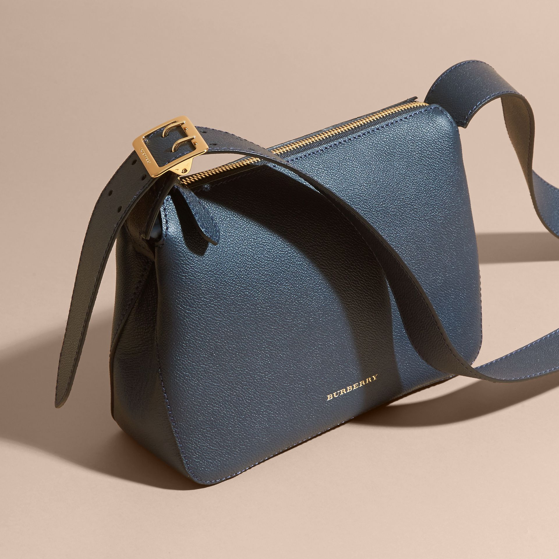 Buckle Detail Leather Crossbody Bag in Blue Carbon - gallery image 7