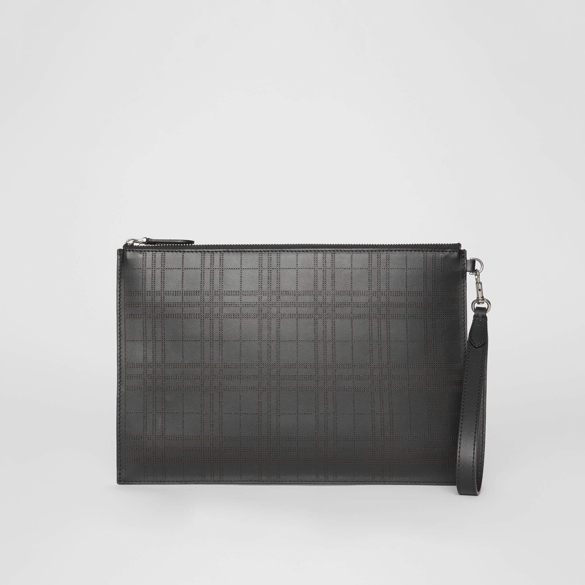 Perforated Check Leather Zip Pouch in Black - Men | Burberry - gallery image 7