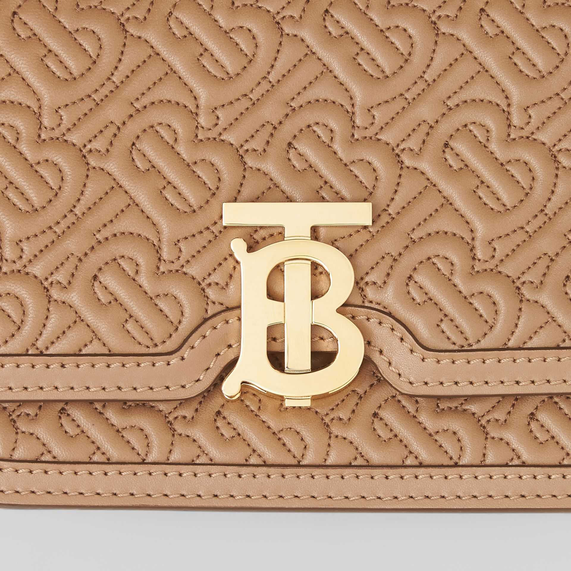 Belted Quilted Monogram Lambskin TB Bag in Honey - Women | Burberry - gallery image 7