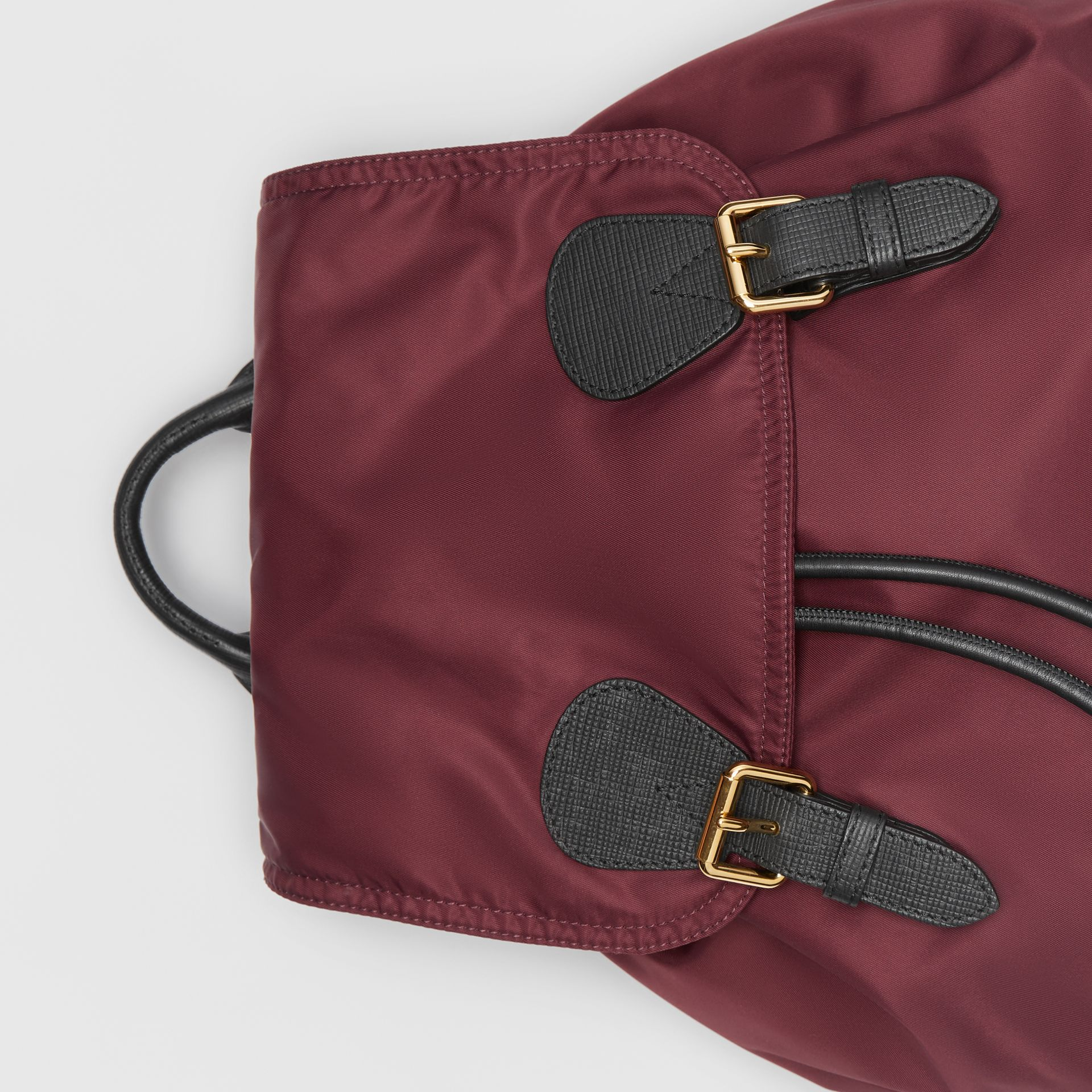 The Large Rucksack in Technical Nylon and Leather in Burgundy Red - Women | Burberry Canada - gallery image 1