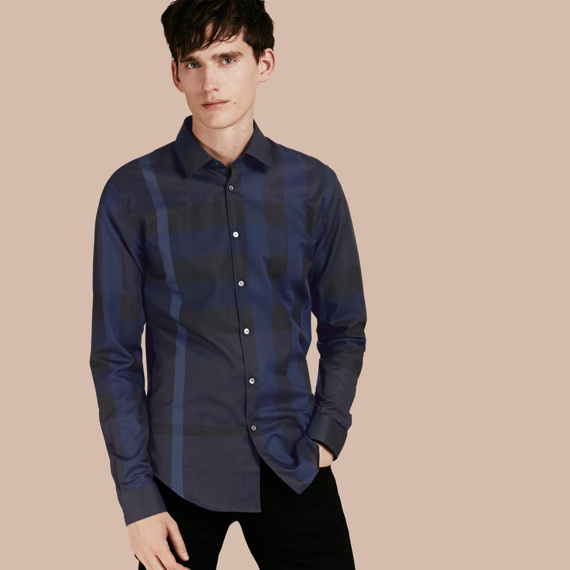 Azul marinho Camisa de algodão com estampa xadrez Azul Marinho - galeria de imagens 1