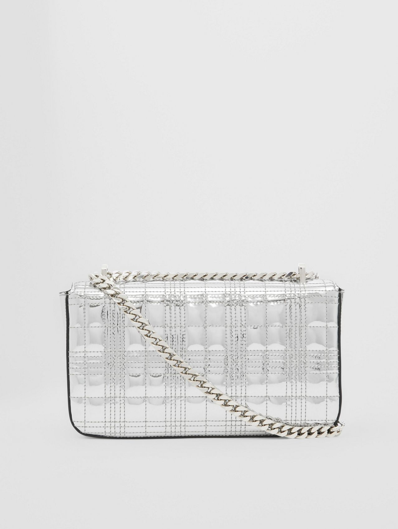 Small Quilted Metallic Leather Lola Bag in Silver