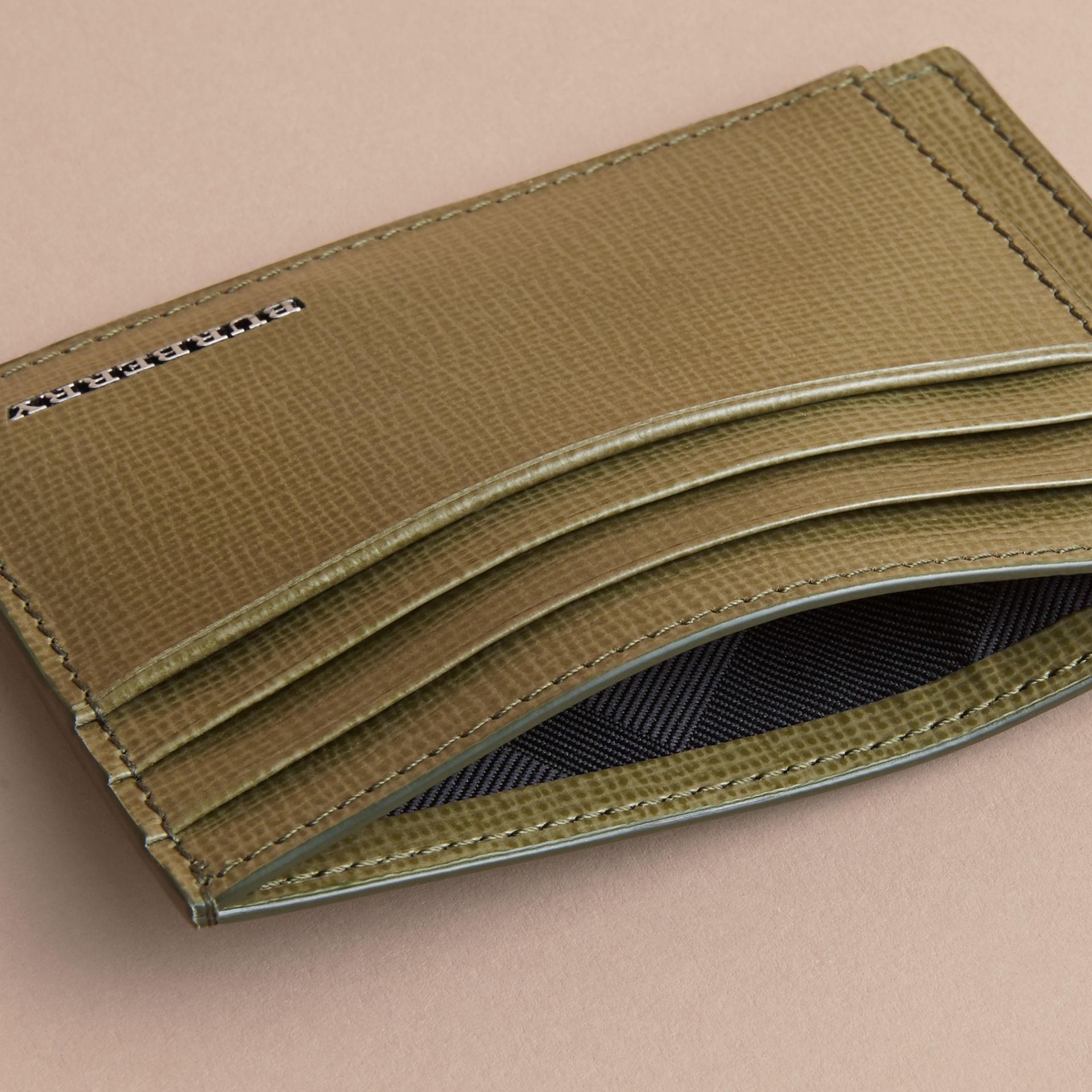London Leather Card Case in Olive Green | Burberry - gallery image 4