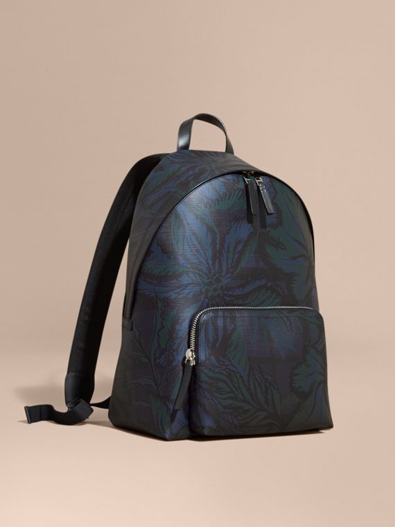 Leather-trimmed Printed London Check Backpack