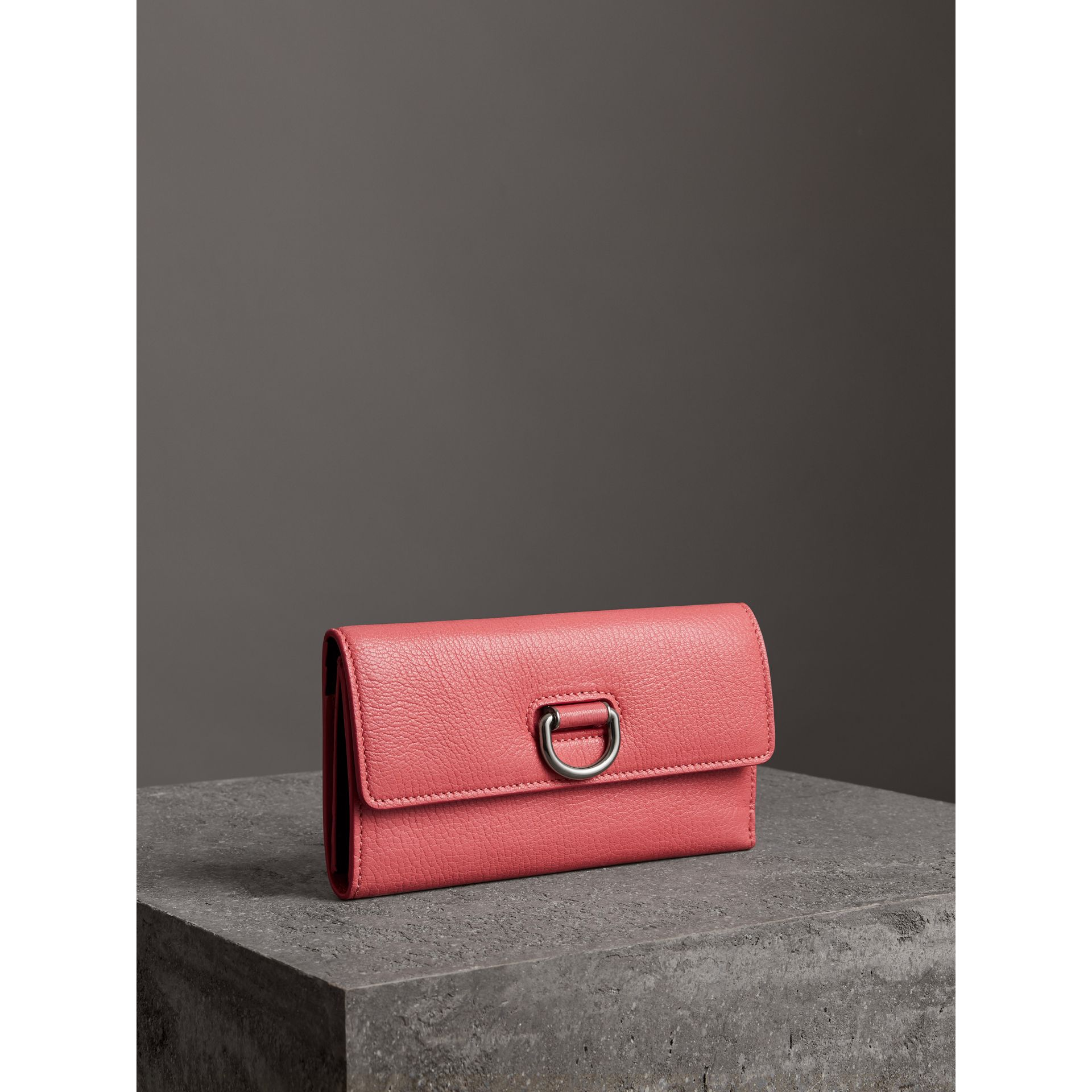 D-ring Grainy Leather Continental Wallet in Bright Coral Pink - Women | Burberry - gallery image 4