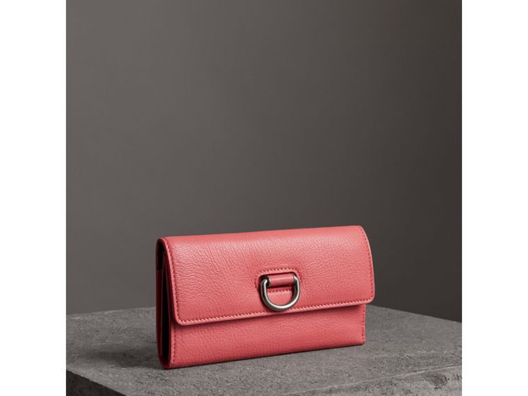D-ring Grainy Leather Continental Wallet in Bright Coral Pink - Women | Burberry - cell image 4
