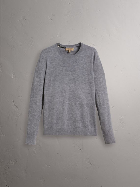 Lightweight Crew Neck Cashmere Sweater with Check Trim in Pale Grey Melange - Men | Burberry - cell image 3