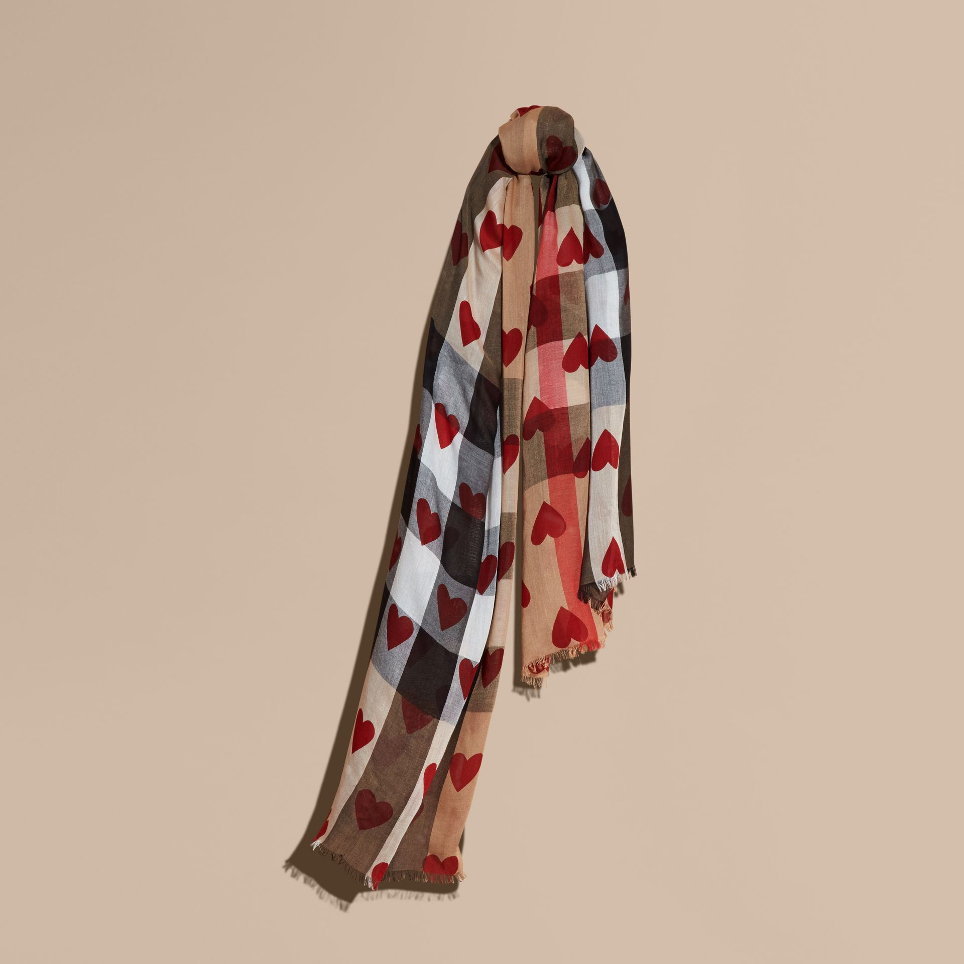 Heart and Check Modal and Cashmere Scarf in Camel/red - gallery image 1