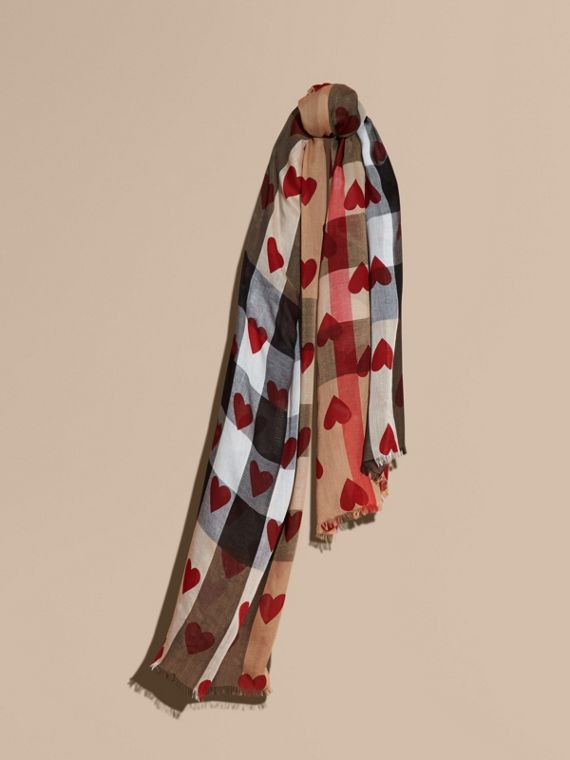 Heart and Check Modal and Cashmere Scarf in Camel/red - Women | Burberry