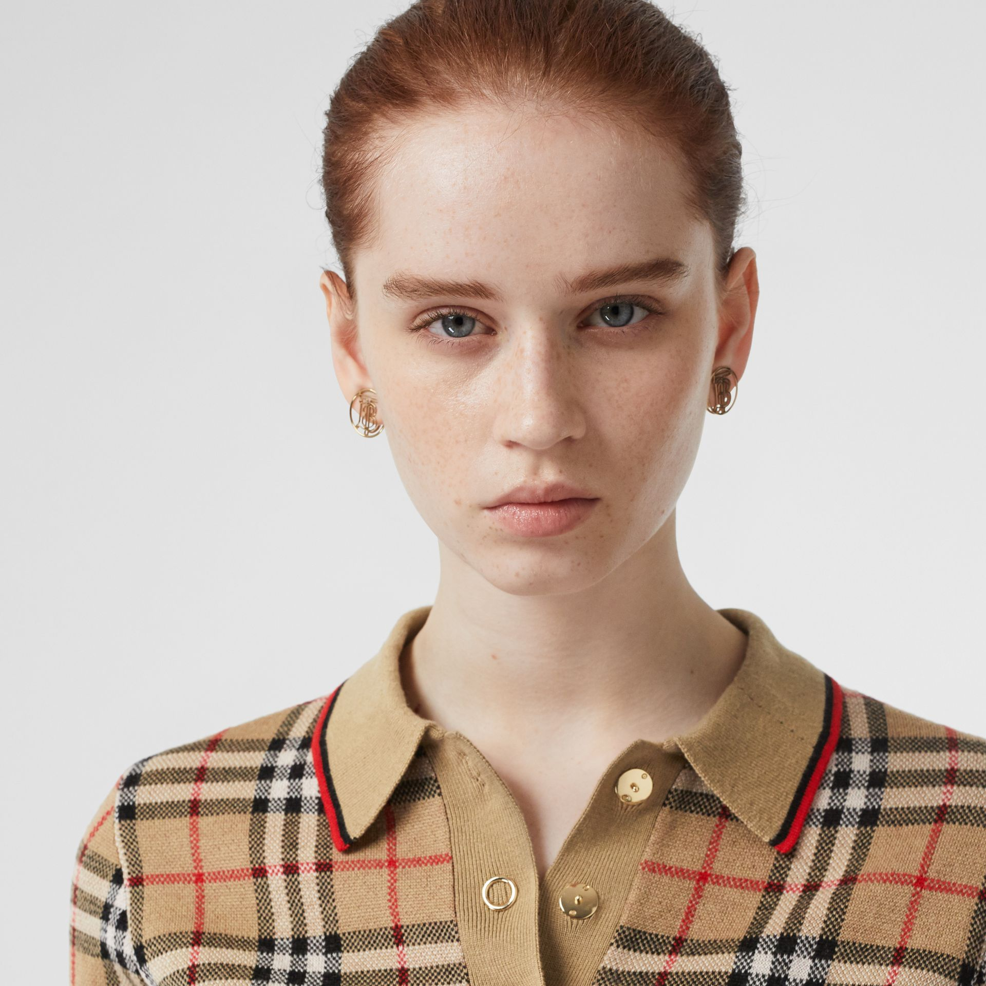Vintage Check Merino Wool Polo Shirt in Archive Beige - Women | Burberry United Kingdom - gallery image 1