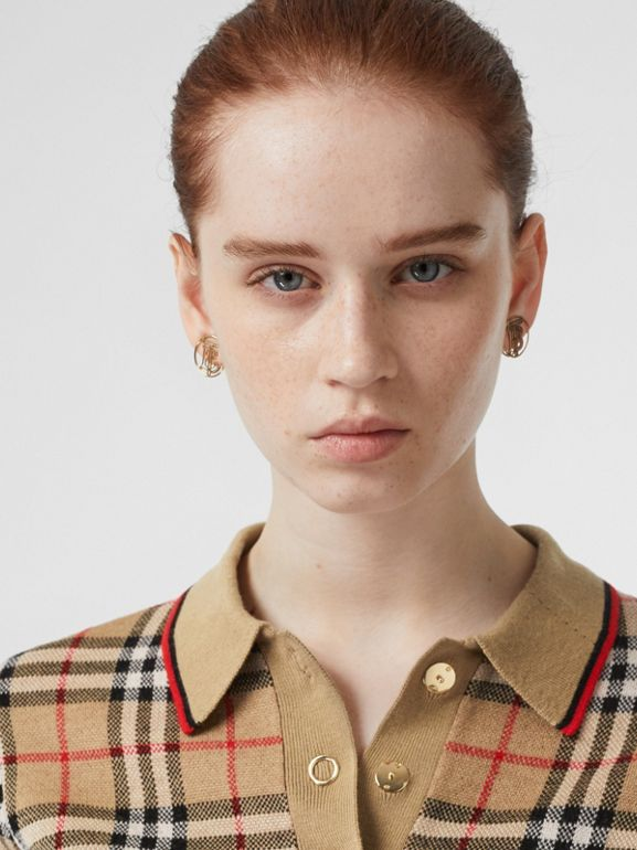 Vintage Check Merino Wool Polo Shirt in Archive Beige - Women | Burberry United Kingdom - cell image 1