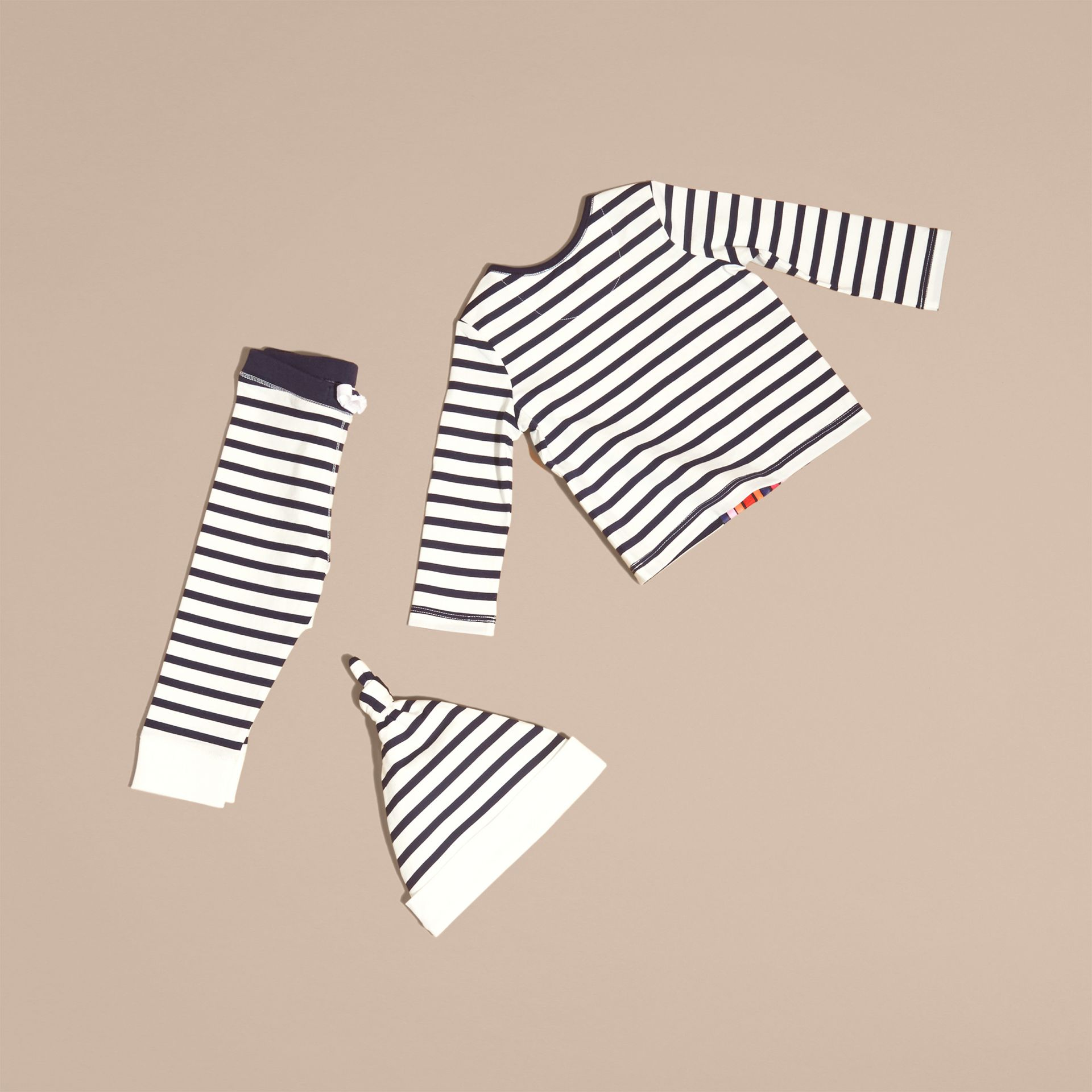 Striped Cotton Three-piece Baby Gift Set - gallery image 3