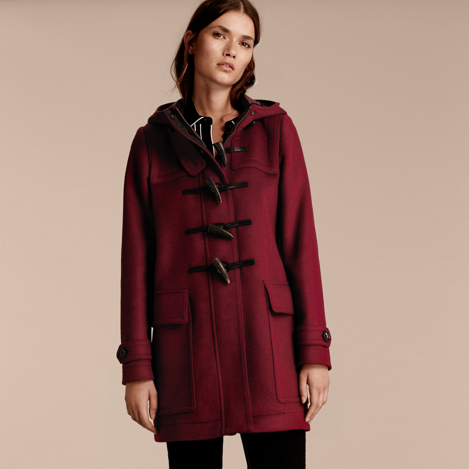Dark plum Wool Duffle Coat - gallery image 6