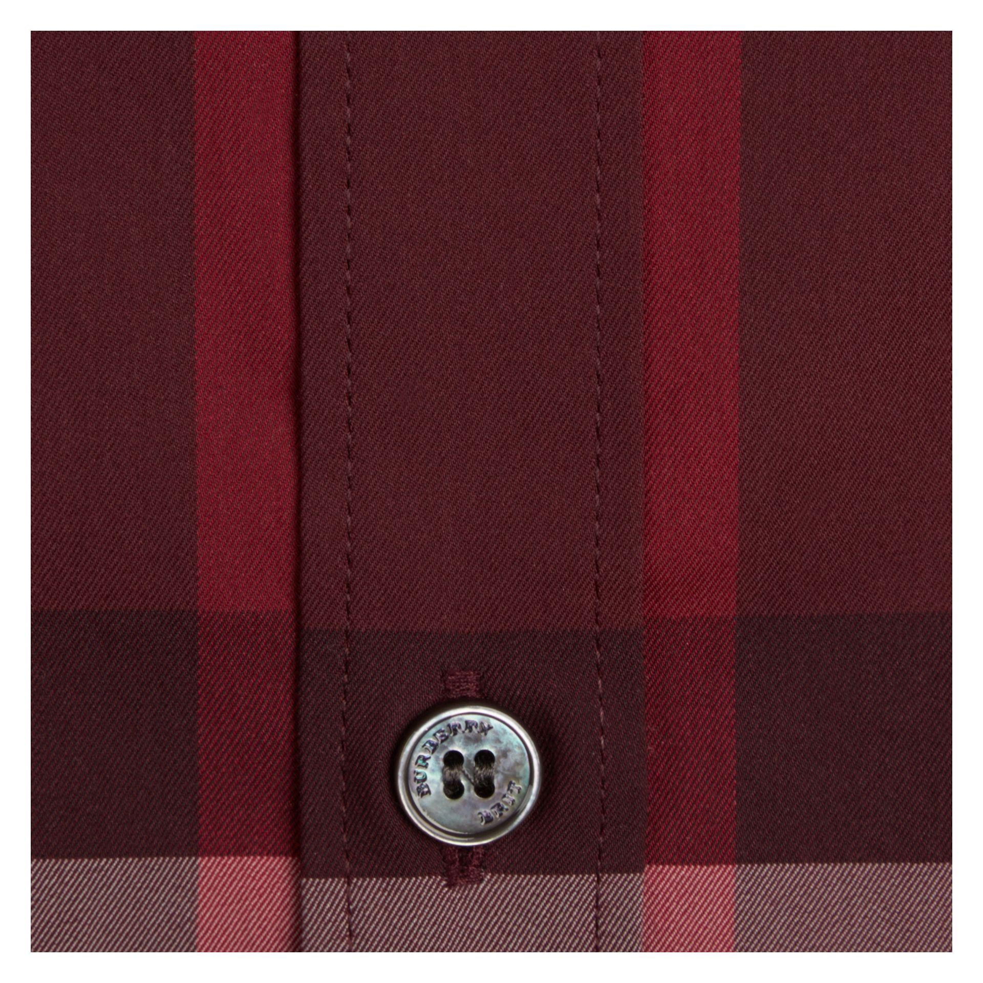 Check Stretch Cotton Shirt Claret - gallery image 2