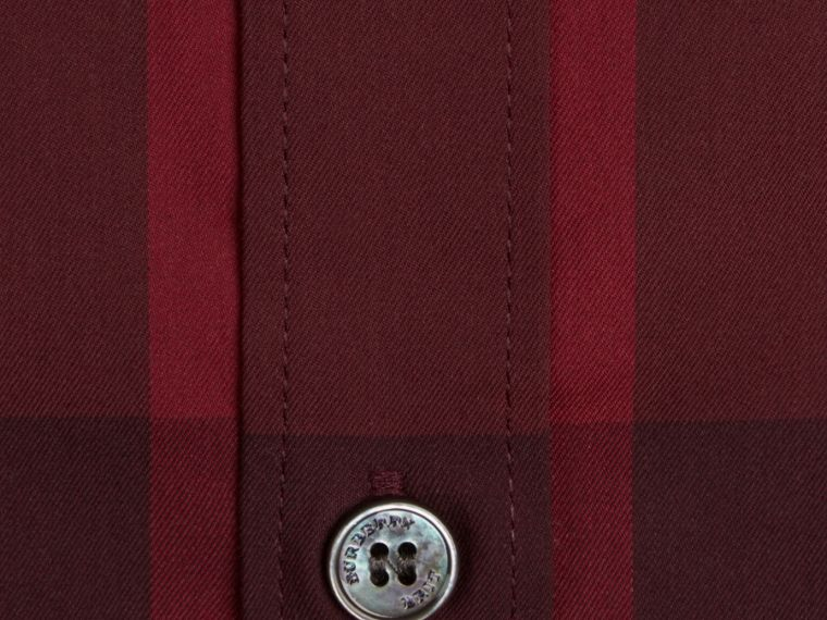 Check Stretch Cotton Shirt Claret - cell image 1