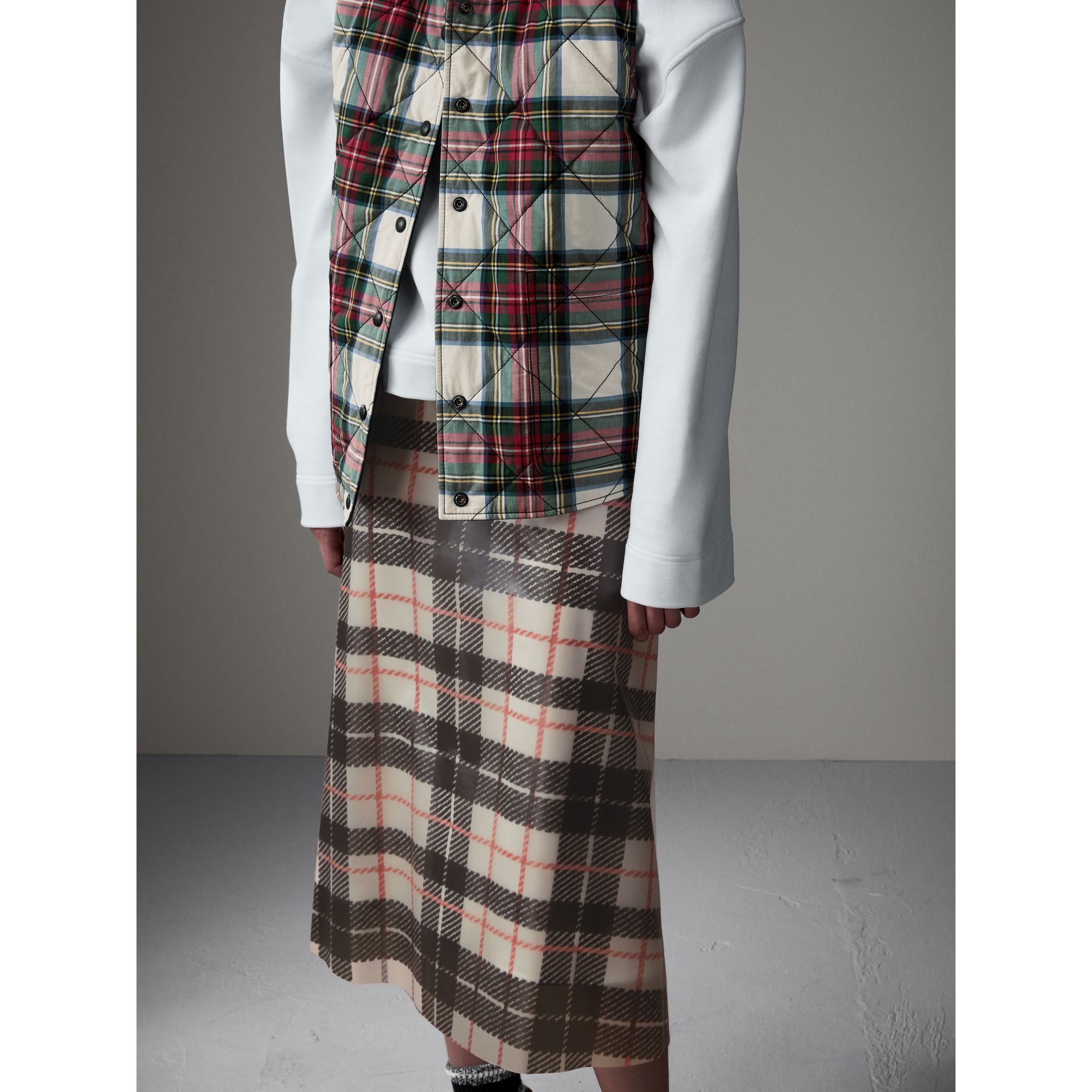 Silk-lined Tartan Plastic A-line Skirt in Black/beige - Women | Burberry United Kingdom - gallery image 4