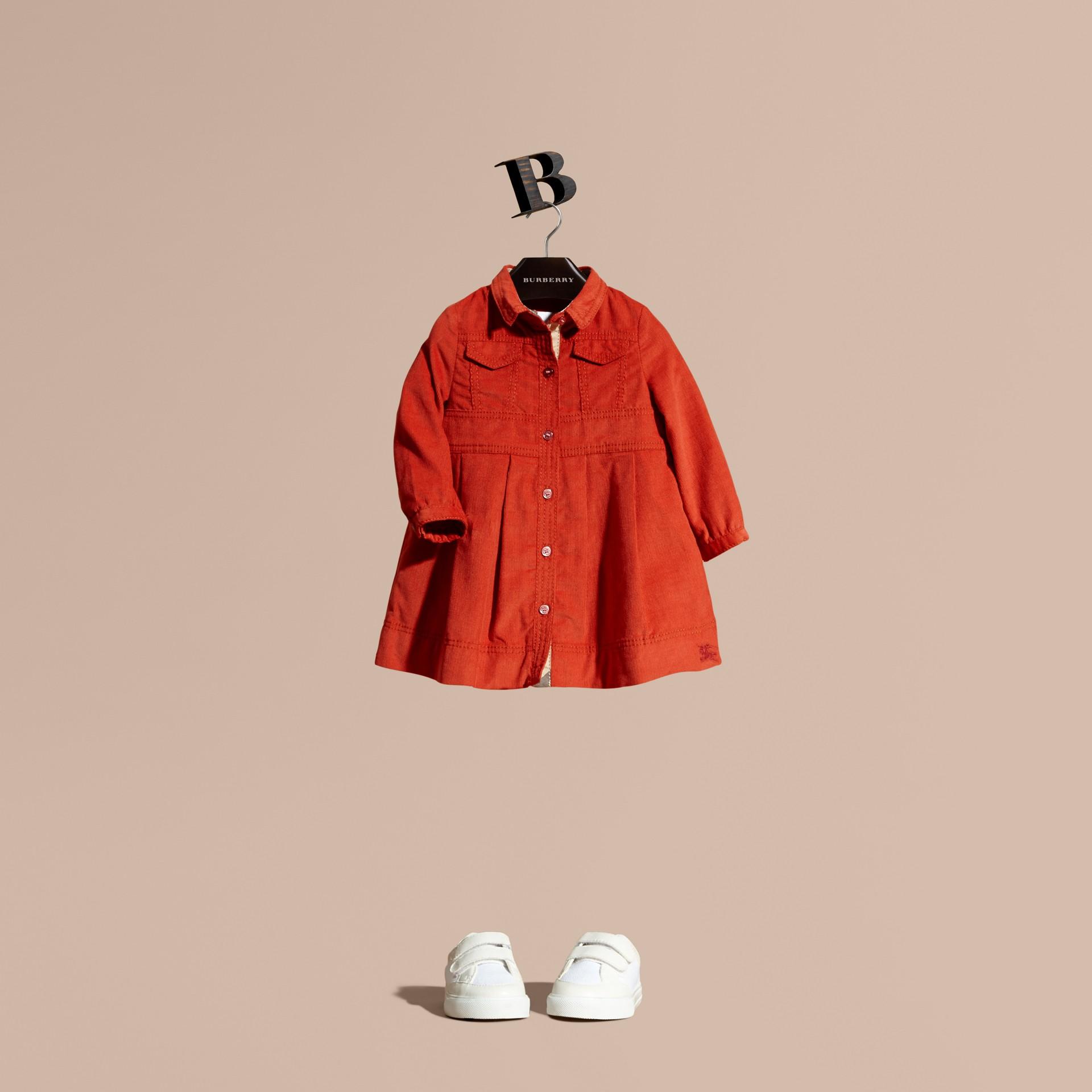 Rosso arancione Abito chemisier in corduroy di cotone Rosso Arancione - immagine della galleria 1