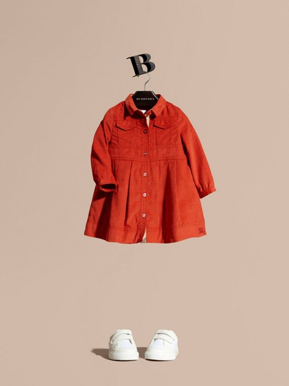 Cotton Corduroy Shirt Dress Orange Red