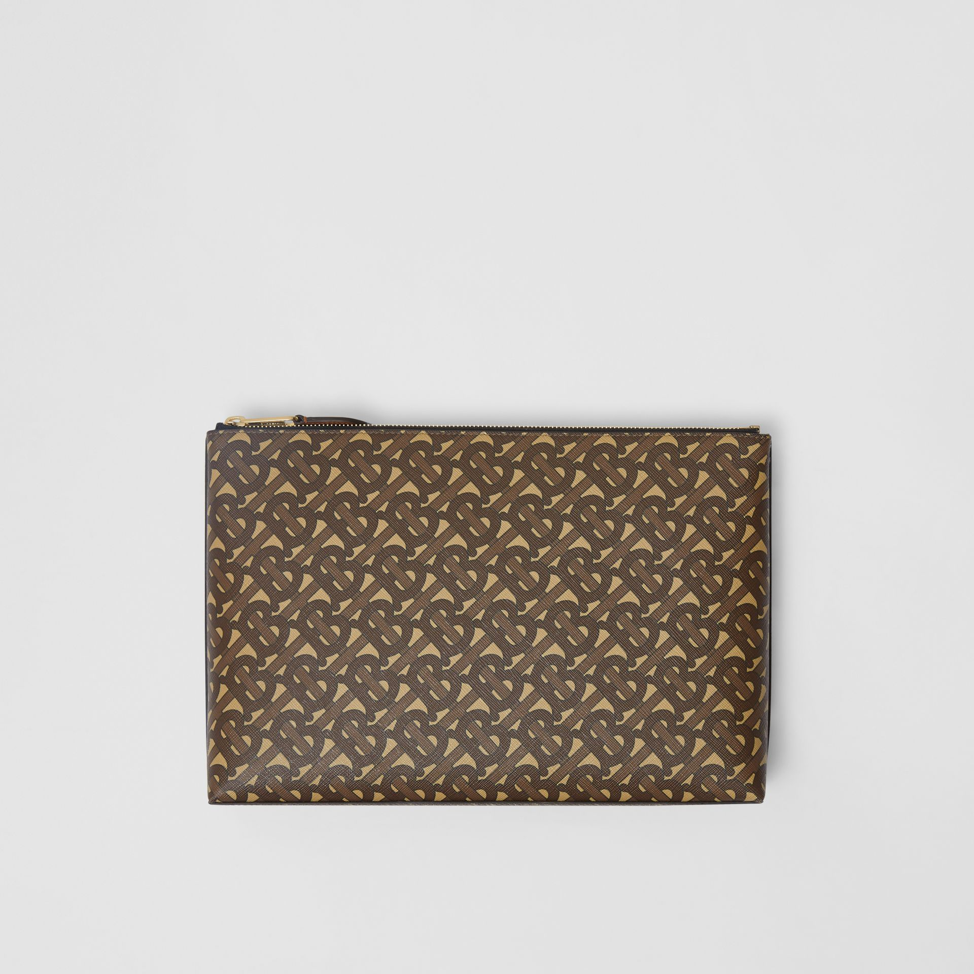 Monogram Print E-canvas Zip Pouch in Bridle Brown | Burberry United States - gallery image 9