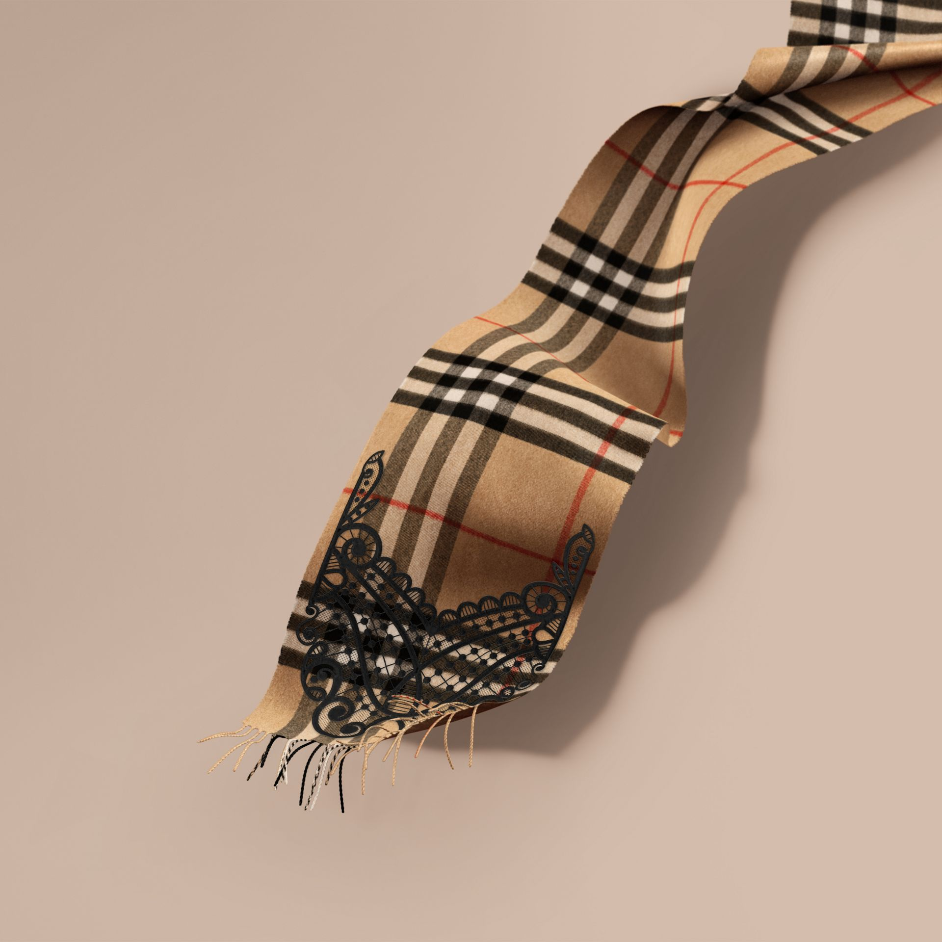 The Classic Cashmere Scarf in Check and Lace in Camel/black - Women | Burberry - gallery image 1