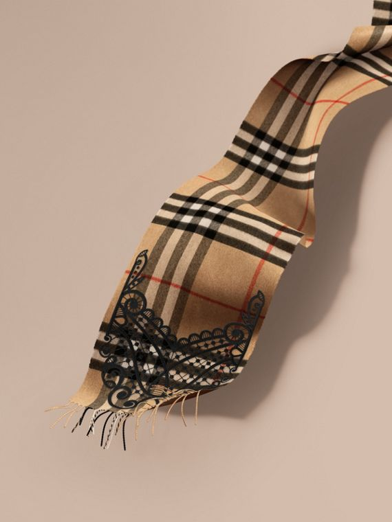 The Classic Cashmere Scarf in Check and Lace - Women | Burberry Canada