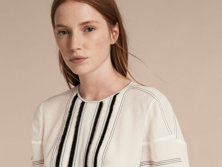 Natural white Topstitched Silk Blouse - cell image 4