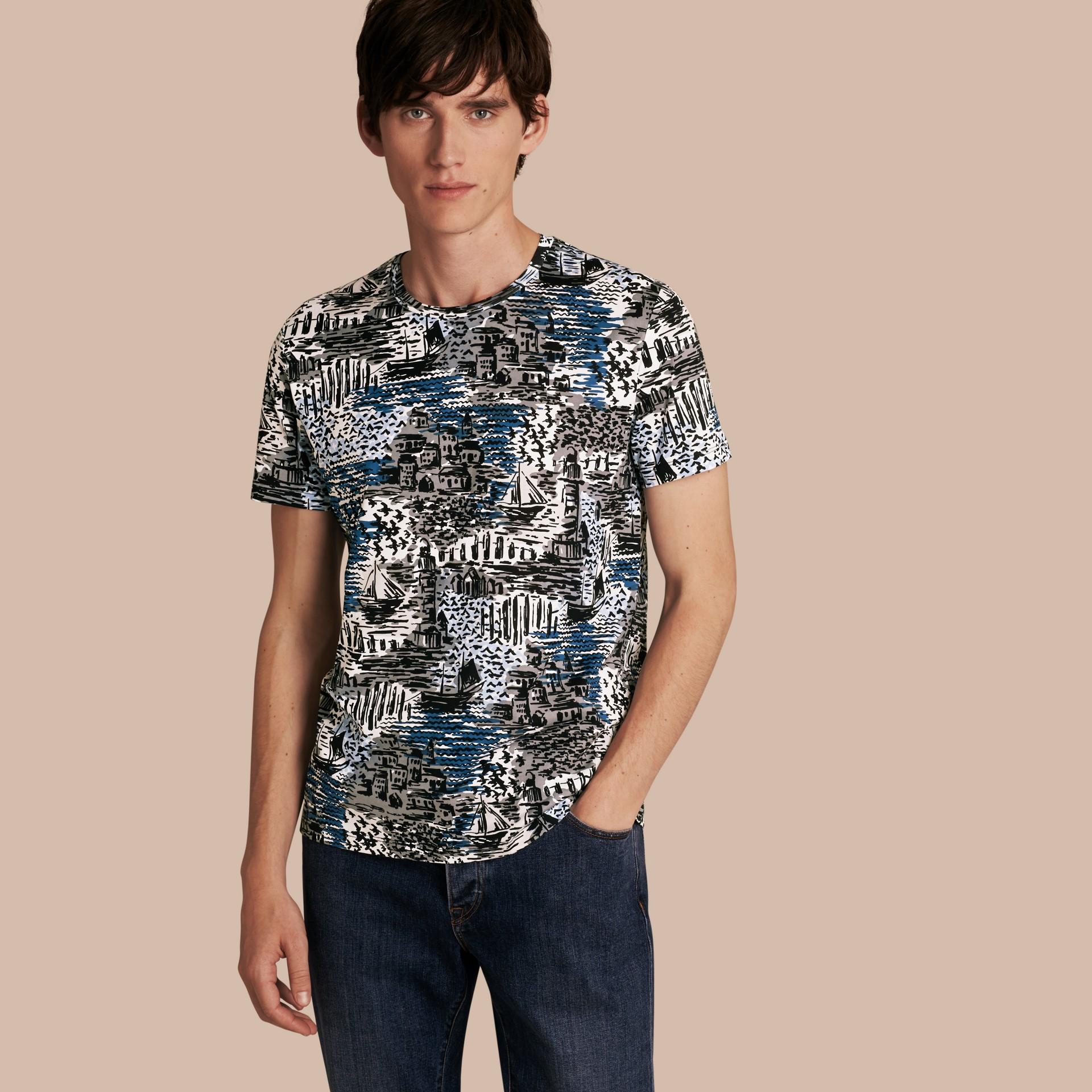 British Seaside Print Cotton T-shirt Steel Blue - gallery image 1