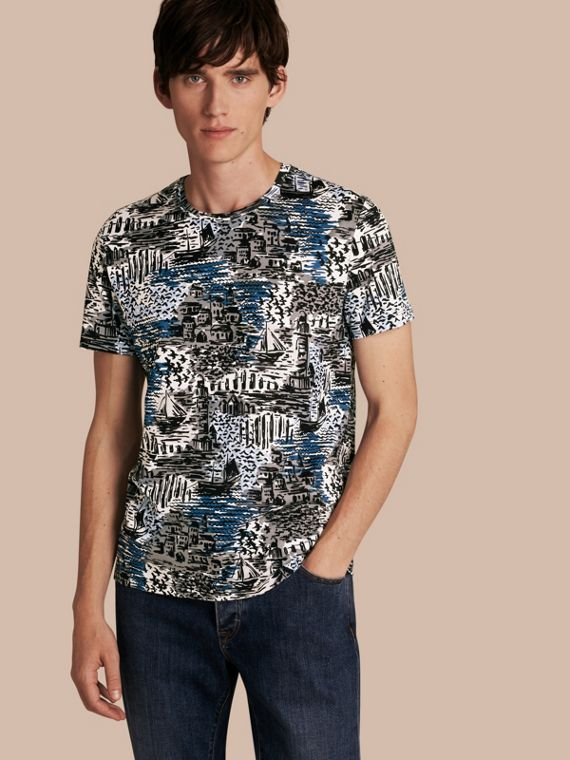 British Seaside Print Cotton T-shirt Steel Blue