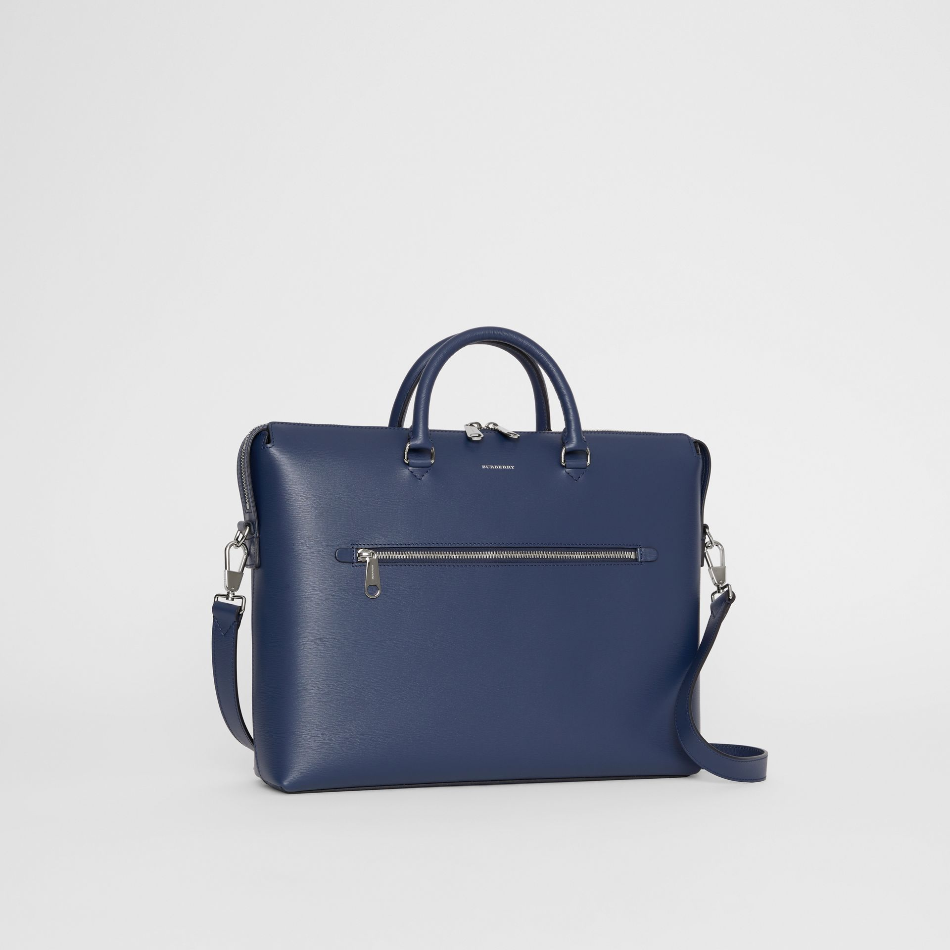 Large Textured Leather Briefcase in Navy - Men | Burberry United States - gallery image 4