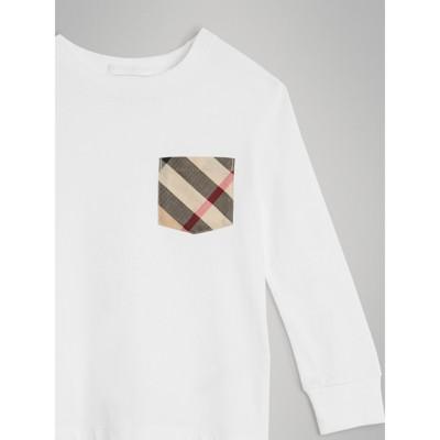 Burberry - T-shirt en coton à manches longues avec poche à motif check - 5