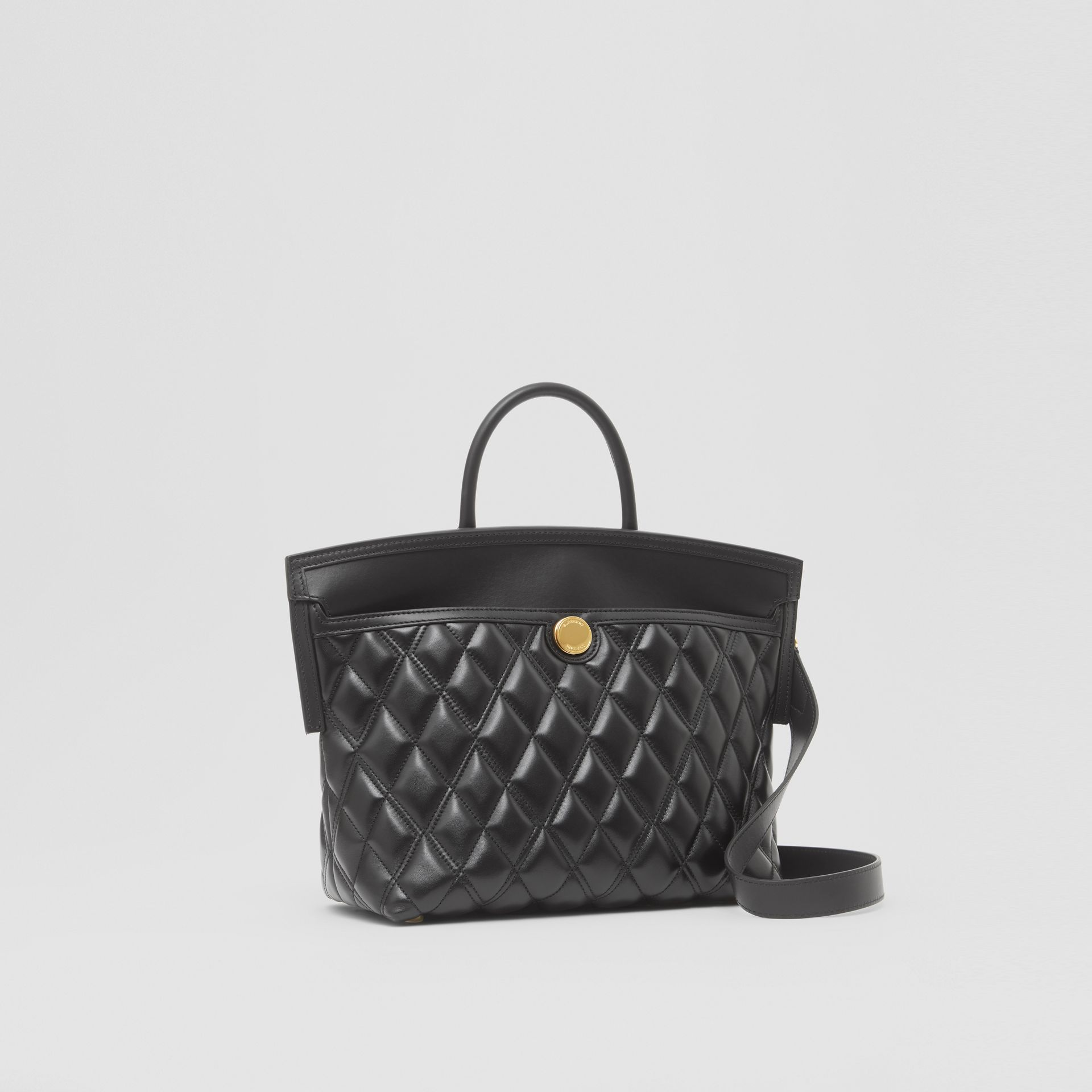 Small Quilted Lambskin Society Top Handle Bag in Black - Women | Burberry United Kingdom - gallery image 4