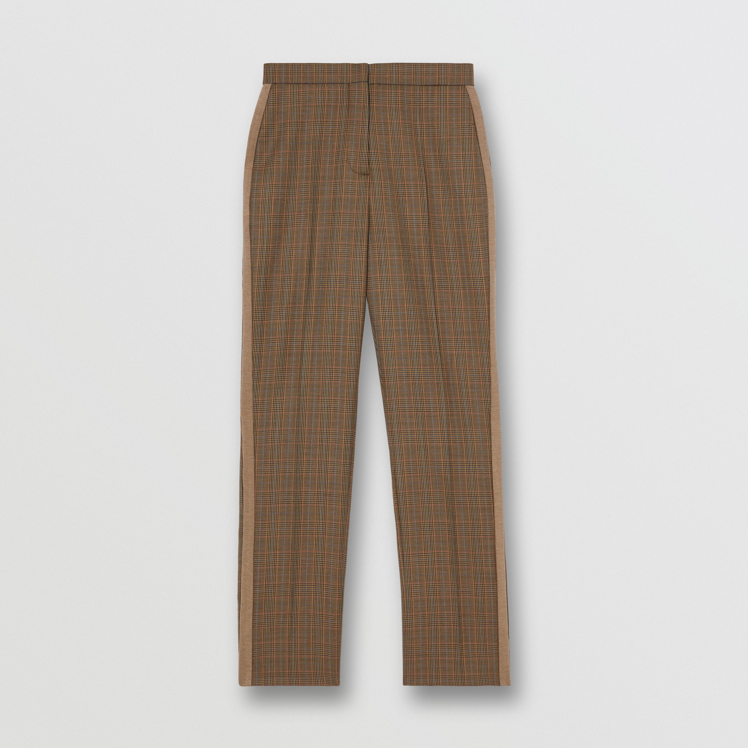 Side Stripe Houndstooth Check Wool Tailored Trousers in Fawn - Women | Burberry - 4