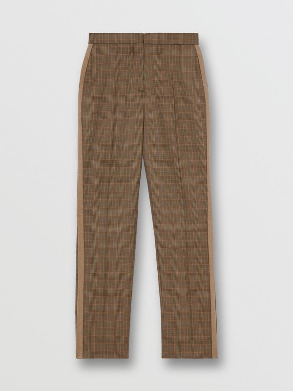 Side Stripe Houndstooth Check Wool Tailored Trousers in Fawn - Women | Burberry Hong Kong S.A.R - cell image 3