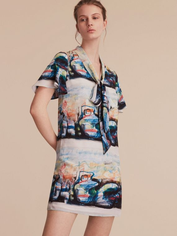 Reclining Figure: Bunched Print Silk Dress with Neck Tie