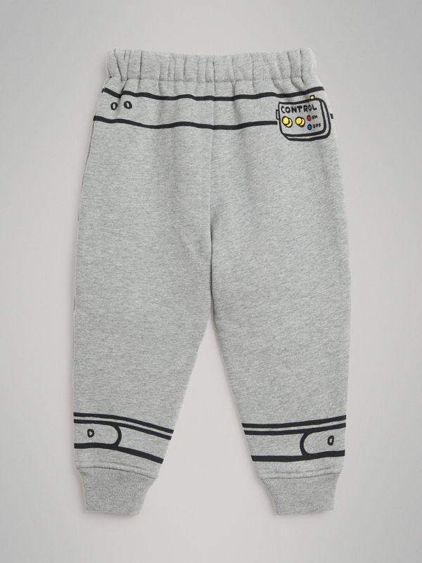 Astronaut Print Jersey Trackpants in Grey Melange | Burberry - cell image 3
